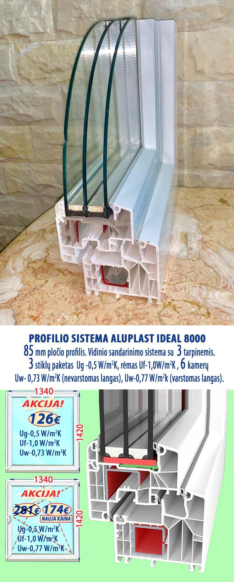 Plastikiniai langai Aluplast 8000, kaina