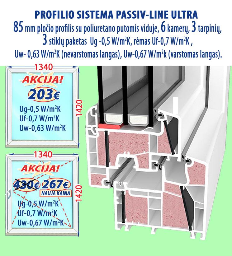 Plastikiniai langai PASSIV-Line-ULTRA, kaina
